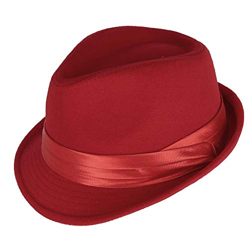 Kenny K Men's Dressy Faux Felt Fedora, Large, Red
