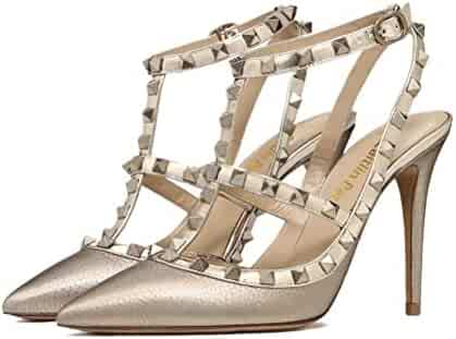 93796859c6e9d Caitlin Pan Womens Pointed Toe Shoes Studded Strappy High Heel Slingback  Leather Pumps Stilettos Sandals