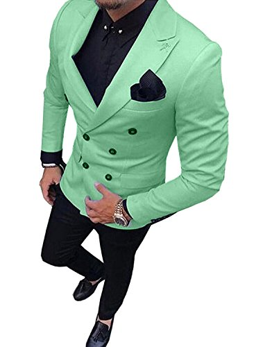 Fitty Lell Men's Suit 2 Piece Formal Double Breasted Groom Blazer Mens Wedding Suits(34 ()
