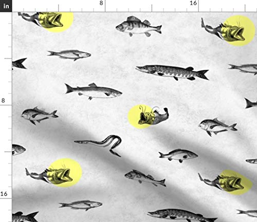 sea creatures yellow dots nautical animals fish Fabric - Vintage Vintage Fish Paper Texture Anglerfish Lure Curiosities Ocean Life by Idoa Printed on Petal Signature Cotton Fabric by the ()