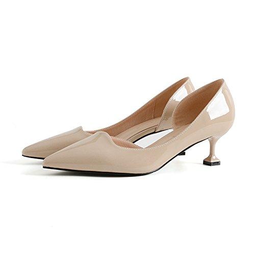 GAOLIM Vacíe El Lado Del Muelle De La High-Heel Shoes Zapatos De Mujer En La Primavera De Pintura Con La Punta Con Una Pequeña Heel Shoes M blanco