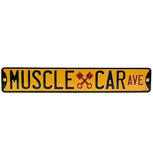 Open Road Brands Muscle Car Ave. Embossed Street Tin Sign