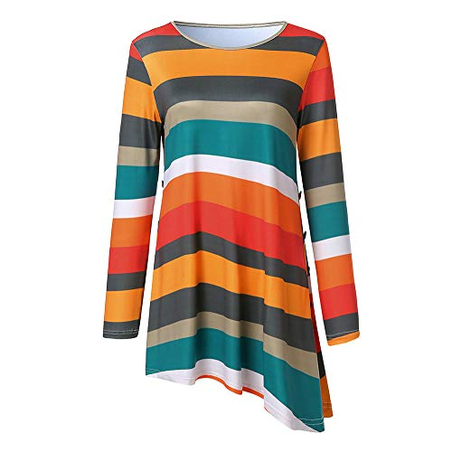 VEZAD Women Casual Stripes Dress Button T-Shirt Long Sleevel Paty Dress