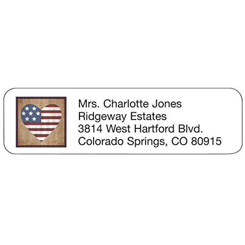 Personalized Patriotic Address Labels-Artful Patriotic Heart Design-Includes a Set of 200 Self-Stick Sheeted Labels Sized at 2 ¼ in. Long x 5/8 in. Wide