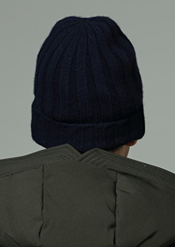 de estampado de punto rayas azul de cashmere de gorro unisex de oscuro Prettystern 100 pliegue cachemir invierno punto x8APnpnqz