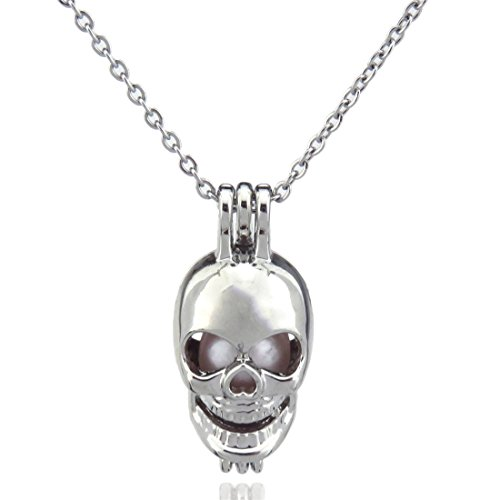 Boy Necklace, Skull Locket Necklace, Skull Bead Pearl Cage, Ghost Skeleton Pendant, Punk Jewelry (Skull Locket)
