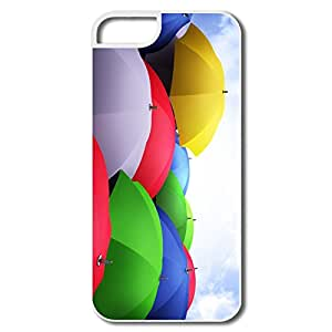 Colorful Umbrellas 5 5s Cover For IPhone White Best Plastic Style