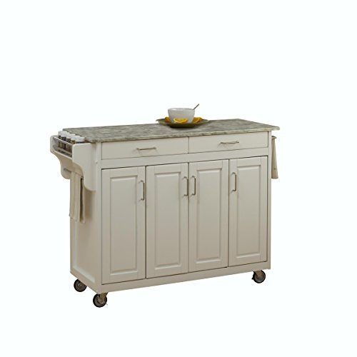 Create-a-Cart White 4 Door Cabinet Create-a-Cart with Concrete Top by Home Styles