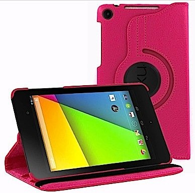 HappyZone PU Leather Case Cover with 360 Degree Rotating For Asus Google Nexus 7 FHD 2nd Generation 2013 Tablet - Hot Pink (Nexus 7 Tablet Case Pink)