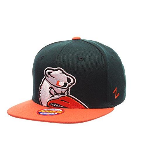 (Miami Hurricanes Youth Peek Adjustable Snapback Cap - NCAA Zephyr Kid's Flat Bill Baseball Hat)