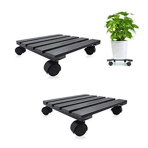 Square Charcoal - CERBIOR Plant Caddy Heavy Duty Plant Stand with Wheels Indoor/Outdoorholds up to 12 inches and 80 lbs Strong and Sturdy Design (Square, Charcoal) 2Pack