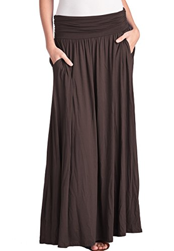 TRENDY UNITED Women's High Waist Fold Over Shirring Maxi Skirt With Pockets,Brown-Maxi,X-Large