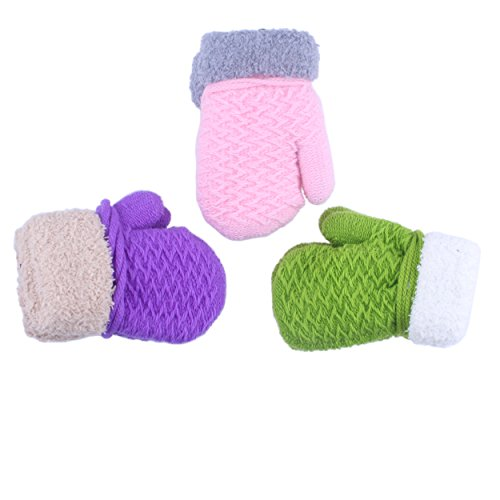 Toddler Baby Girl Pink Purple Green Soft Cashmere Winter Mittens Gloves
