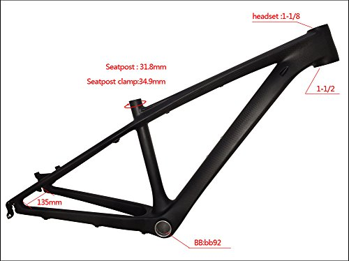 Fasteam 26er 16 '' 3K Matte Full Carbon Bicycle Frame MTB Frame with Bottom Bracket and Headset by Fasteam (Image #2)