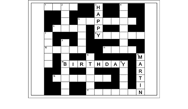 Novelty Personalised Name Crossword Puzzle A4 Edible Icing