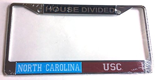 UNC Tar Heels - USC South Carolina Gamecocks House Divided Car Tag License Plate Frame (Unc House Divided)