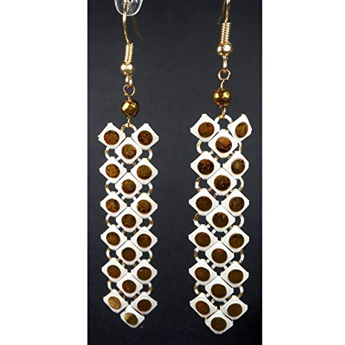 (White and Gold Tone Enamel Metal Mesh Dangle Earrings, Upcycled fr Vintage Evening Bag,Gift for Her)
