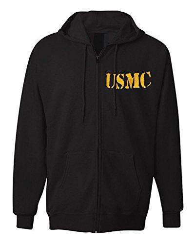American Law Enforcement Military USMC TEXT Jacket Zipper Hoodie-L -
