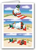 Funny Melting Snowman on Beach Holiday Card - 18 Cards & Envelopes
