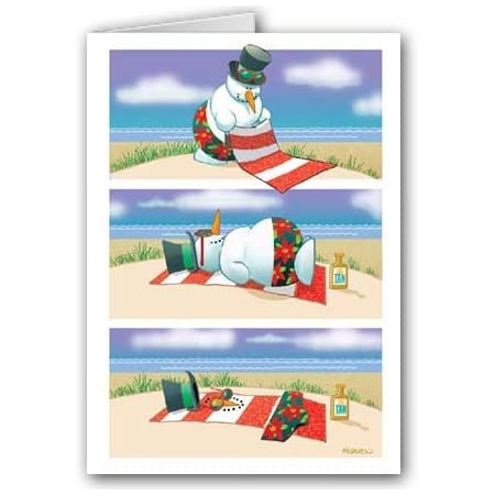 Beach Christmas Cards >> Funny Melting Beach Snowman Christmas Cards 18 Beachfront Decor