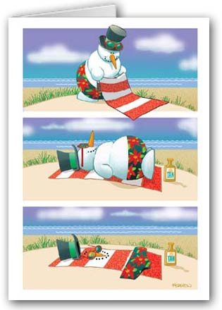 Beach Christmas Cards >> Funny Melting Beach Snowman Christmas Cards 18