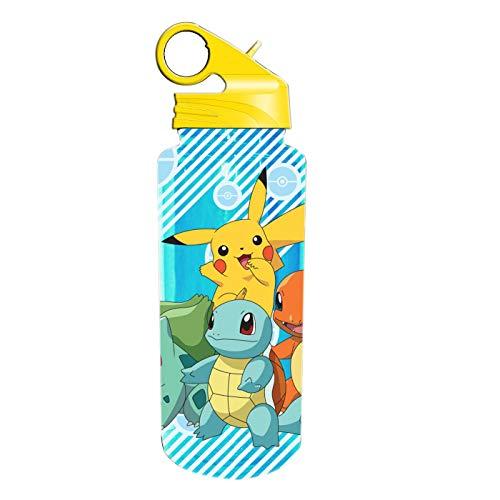 Pokemon Water Bottle - Silver Buffalo Pokemon Pikachu, Bulbasaur, Charmander,