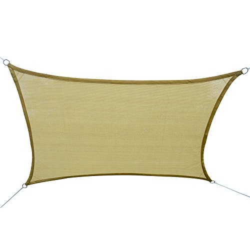 Outsunny  Tan Square Outdoor Patio Sun Shade Sail Pool Fabric Top Cover Canopy,  20 x 16-Feet