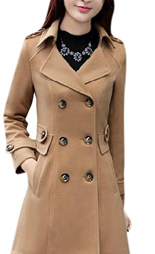 Wills Coat (Lingswallow Women's Vintage Lapel Trench Coat Double Breasted Wool Jacket Brown)