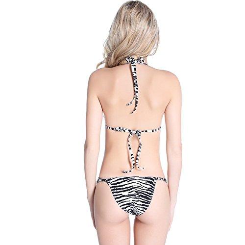 UDreamTime Taza llena Side Tie Set de baño del bikini de las Femenino Zebra