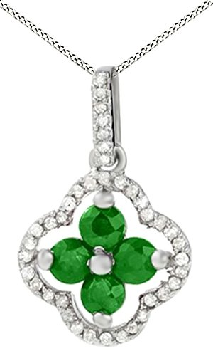 Simulated Green Emerald with Natural Diamond Accents Clover Pendant Necklace in 10K Solid Gold (Clover Diamond Pendant Accent)