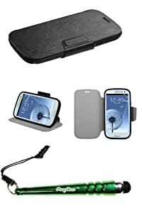 FoxyCase(TM) FREE stylus AND SAMSUNG Galaxy S III (i747 L710 T999 i535 R530 i9300) Black Mixy MyJacket Wallet (941) (with Package) Best beautiful pocketbook, wallet, pouch cas couverture