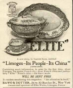 Limoges Elite China - Elite Pattern in 1900 Limoges China AD by BAWO DOTTER Original Paper Ephemera Authentic Vintage Print Magazine Ad/Article