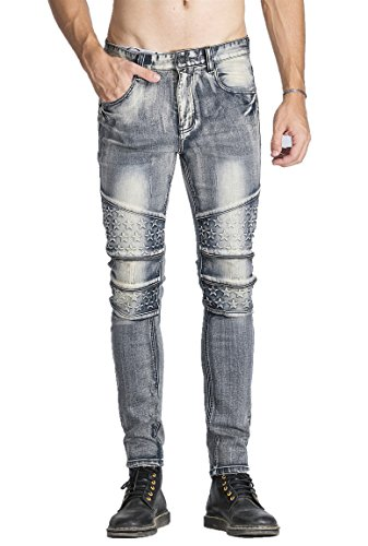FREDD MARSHALL Men's Biker Moto Skinny Ripped Vintage Stretch Fit Denim Jeans,Grey,W36 x 32L
