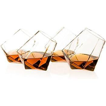 The Wine Savant Diamond Whiskey, Scotch, Bourbon or Wine Glasses, Set of 4 In Beautiful Gift Box