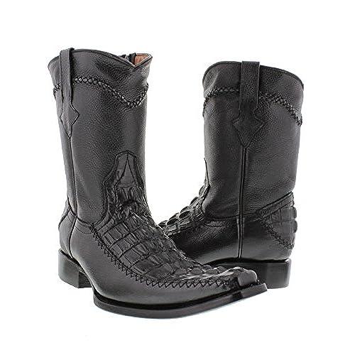 84f57767f3c outlet El Presidente - Men's Black Rocker Crocodile Tail Cut Leather ...