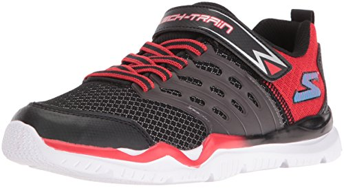 Skechers Boy's Skech-Train Slip On  Black/Red Sneaker – 11 W US Little Kid Review
