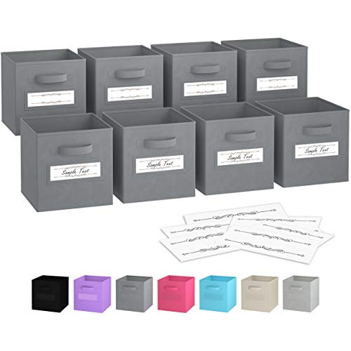 Royexe - Storage Cubes - (Set of 8) Storage Baskets | Features Dual Handles & 10 Label Window Cards | Cube Storage Bins | Foldable Fabric Closet Shelf Organizer | Drawer Organizers and Storage (Grey)