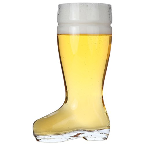 Lily's Home Das Boot Oktoberfest Beer Stein Glass, Great for Restaurants, Beer Gardens, and Parties or as a Funny Bachelor Party Gift, Combat Boot Style, (1 Liter Capacity, 9.8