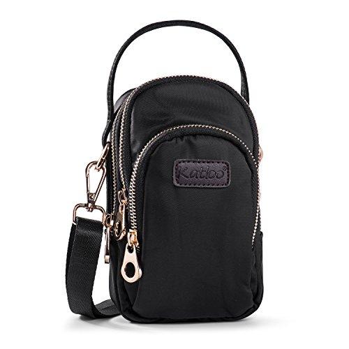 Cellphone Purse Crossbody Bag Small Mini Handbag for Women Nylon Cross Body Wallet with 3 Zipper Pockets Katloo (Mini Cross Body Purse)