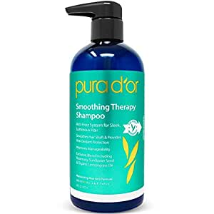 PURA D'OR Smoothing Therapy Anti-Frizz Straightening Shampoo for Dull, Dry, Brittle Hair, 16 Fl Oz