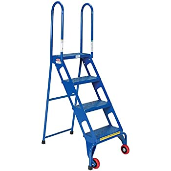 Vestil Flad 4 Folding 4 Steps Ladder With Wheels Carbon