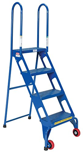 Vestil FLAD-4 Folding 4 Steps Ladder with Wheels, Carbon Steel, 350 lbs Capacity, 39-7/8