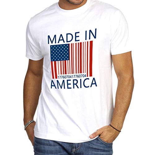 Men's Summer Blouse,MILIMIEYIK Sale! Printed Independence Day T-Shirt Loose American Flag Casual Round Neck Tops White -