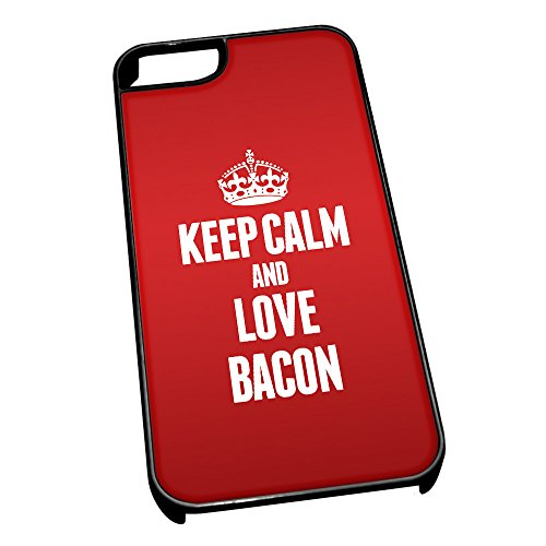 Nero cover per iPhone 5/5S 0790 Red Keep Calm and Love Bacon