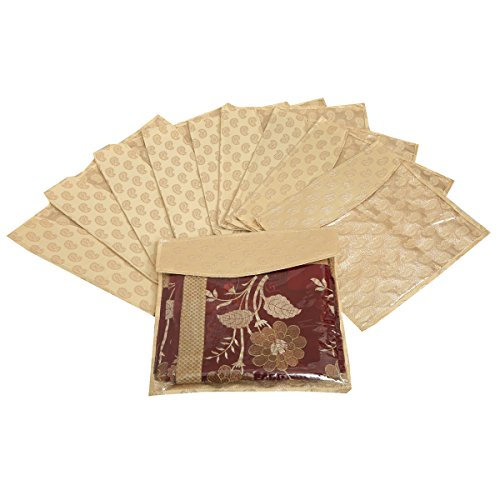 Kuber Industries Brocade Saree Cover Pack of 10 Pcs (Golden) KU180