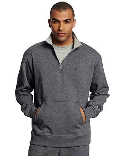 Champion Men's Powerblend Quarter-Zip Fleece Jacket, Granite Heather, Small