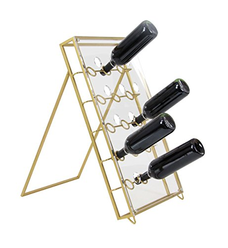 Deco 79 84382 Metal and Acrylic Rectangular A-Shaped Wine Holder, 24