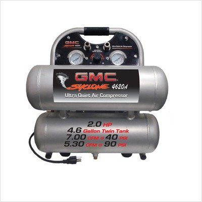 Aluminum Stack Twin (4.6 Gallon GMC SYCLONE 4620A Ultra Quiet and Oil Free Air Compressor)