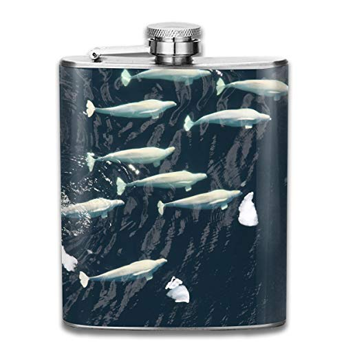 (Laki-co Fish Belugawhales Wine Water Hip Flask for Liquor Stainless Steel Bottle Alcohol)