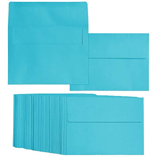 100 Pack Sky Blue Color A7 Envelopes for 5 x 7 Greeting Cards and Invitation Announcements - Value Pack Square Flap Envelopes - 5.25 x 7.25 Inches - 100 Count from Juvale